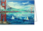 Bay Drawings Greeting Cards - San Francisco Golden Gate Bridge Greeting Card by Eric  Schiabor
