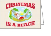 Sea Shore Digital Art Greeting Cards - Santa Claus Father Christmas Beach Relaxing Greeting Card by Aloysius Patrimonio