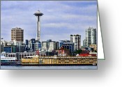 Seattle Greeting Cards Greeting Cards - Seattle Waterfront Greeting Card by Ron Roberts