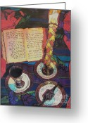 Spice Mixed Media Greeting Cards - Shavuah Tov Greeting Card by Judith Rothenstein-Putzer
