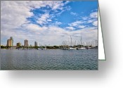 Boats Greeting Cards - St Petersburg Marina Greeting Card by Bill Cannon