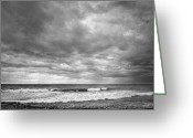 Beach Landscapes Greeting Cards - Storm at the beach Greeting Card by Guido Montanes Castillo