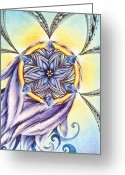 Shaman Drum Greeting Cards - The Amethyst of Time Greeting Card by Andrea Carroll