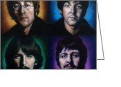 George Harrison Painting Greeting Cards - The Beatles Greeting Card by Tim  Scoggins