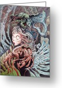 Monster Art Greeting Cards - The Drinking Girl  Greeting Card by Ethan Harris