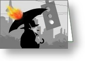Umbrella Digital Art Greeting Cards - The Eastside Smoker Greeting Card by Tom Dickson