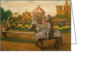 Knights Castle Painting Greeting Cards - The Tournament Greeting Card by Larry Lamb