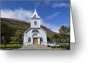 Sculture Greeting Cards - The wooden church in the village of Seydisfjordur Iceland Greeting Card by Robert Preston