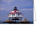 Scenic Byways Greeting Cards - Thomas Point Shoal Lighthouse Greeting Card by Skip Willits