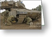 Featured Greeting Cards - Track Replacement On A Israel Defense Greeting Card by Ofer Zidon