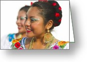 Vibrant Photo Greeting Cards - Traditional Ethnic Dancers in Chiapas Mexico Greeting Card by David Smith