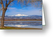 Snowy Tree Greeting Cards - Twin Peaks Longs and Meeker Lake Reflection Greeting Card by James Bo Insogna