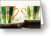 Dark Ceramics Greeting Cards - Two Coffee Cups Greeting Card by Aleksey Tugolukov