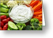 Food And Beverage Greeting Cards - Vegetables and dip Greeting Card by Elena Elisseeva