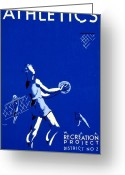 Baseball Poster Greeting Cards - Vintage Poster - WPA - Athletics 2 Greeting Card by Benjamin Yeager