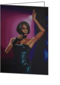 Waiting To Exhale Greeting Cards - Whitney Houston Greeting Card by Paul Meijering