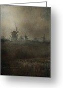 Old Mills Greeting Cards - Windmills Greeting Card by Joana Kruse