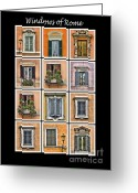 Old World Photography Greeting Cards - Windows of Rome Greeting Card by David Letts
