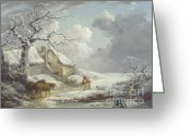 Storm Prints Painting Greeting Cards - Winter Landscape Greeting Card by Pg Reproductions