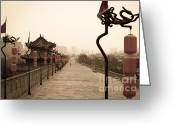 Shaanxi Greeting Cards - XiAn City Wall China Greeting Card by Fototrav Print