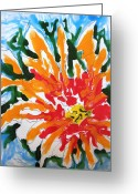 Baljit Chadha Greeting Cards - Zenmoksh Flowers Greeting Card by Baljit Chadha