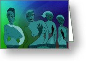 Glove Digital Art Greeting Cards - 154 - Odd Blue Ladies 2   Greeting Card by Irmgard Schoendorf Welch