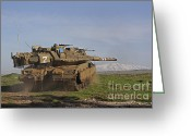 Featured Greeting Cards - An Israel Defense Force Merkava Mark Iv Greeting Card by Ofer Zidon