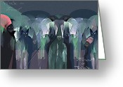 Ghastly Greeting Cards - 166 -- Trick or Treat  ... Greeting Card by Irmgard Schoendorf Welch