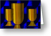 Chalice Greeting Cards - 170 -   Golden Goblets   Greeting Card by Irmgard Schoendorf Welch
