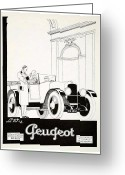 Panoramique Greeting Cards - 1927 - Peugot Automobile Advertisement Greeting Card by John Madison