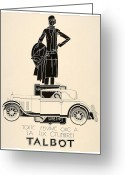 Panoramique Greeting Cards - 1929 - Talbot French Automobile Advertisement Greeting Card by John Madison