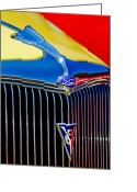 Deluxe Greeting Cards - 1934 Ford Deluxe Coupe Grille Emblems Greeting Card by Jill Reger