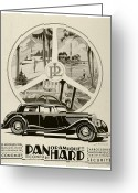 Panoramique Greeting Cards - 1935 - Panhard Panoramique French Automobile Advertisement Greeting Card by John Madison