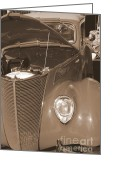 Mary Deal Greeting Cards - 1939 chevy Woody in Sepia Greeting Card by Mary Deal