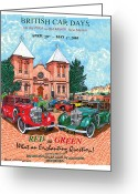 Posters And Greeting Cards - 1939 Red and Green  Rolls Royce Greeting Card by Jack Pumphrey