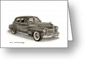 90s Greeting Cards - 1941 Cadillac Sedan Greeting Card by Jack Pumphrey