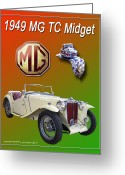 Mascots Digital Art Greeting Cards - 1949 MG Midget Poster Greeting Card by Jack Pumphrey