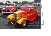 Monochrome Hot Rod Greeting Cards - 1954 Chevrolet with 1932 Ford Coupe Hot Rod Greeting Card by Gill Billington