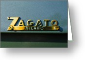 Classic Fiat Greeting Cards - 1955 Fiat 8V Zagato Emblem Greeting Card by Jill Reger