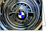 Bmw Emblem Greeting Cards - 1957 BMW Wheel Emblem Greeting Card by Jill Reger
