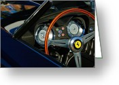 California Photographer Greeting Cards - 1958 Ferrari 250 GT LWB California Spider Steering Wheel Emblem Greeting Card by Jill Reger