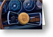 Porsche 911 Greeting Cards - 1967 Porsche 911 Coupe Steering Wheel Emblem Greeting Card by Jill Reger