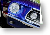 American Vintage Greeting Cards - 1968 Ford Mustang Cobra GT 350 Head Light Greeting Card by Jill Reger