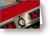 American Vintage Greeting Cards - 1968 Shelby GT500 KR Fastback Rear Emblem - Taillights Greeting Card by Jill Reger