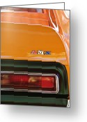 American Vintage Greeting Cards - 1971 AMC Javelin AMX Taillight Emblem Greeting Card by Jill Reger