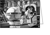 Ny Yankees Baseball Art Greeting Cards - 1996 Yankees Float Greeting Card by John Rizzuto