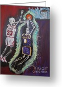 Renegade Greeting Cards - 1997 Kobe vs Jordan Greeting Card by Visual  Renegade Art