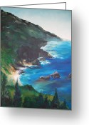 Beaches Drawings Greeting Cards -  Big Sur   Greeting Card by Eric  Schiabor