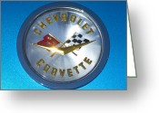 Sports Car Greeting Cards - 1958 Chevrolet Corvette Emblem Greeting Card by Jill Reger