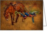 Cowboy Digital Art Greeting Cards - 6 Second Ride...2 Second Landing Greeting Card by Robert Albrecht